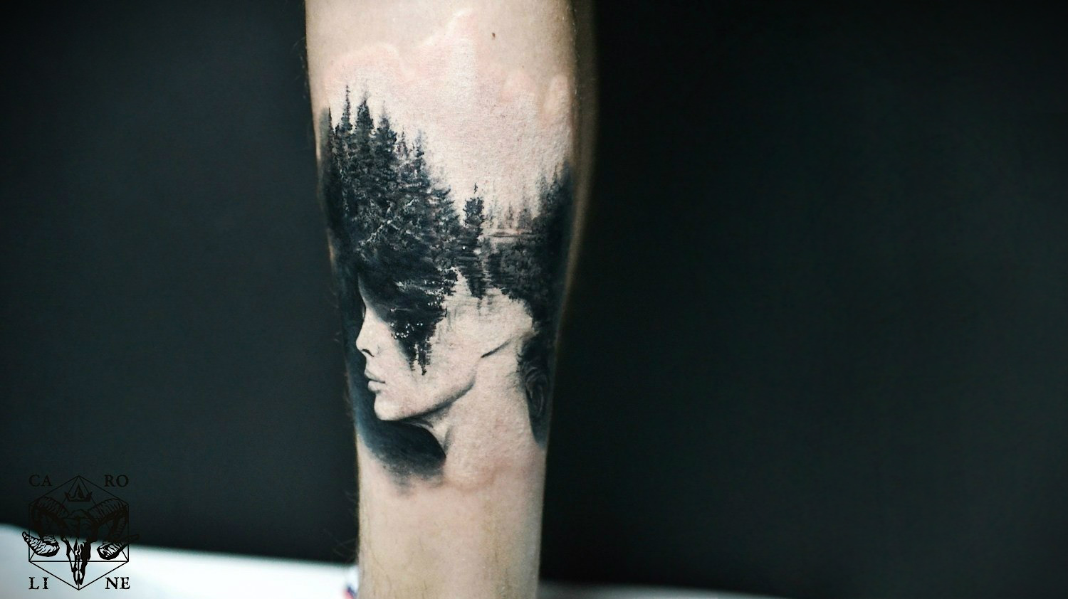 Antonio Mora double exposure tattoo by Caroline Friedmann