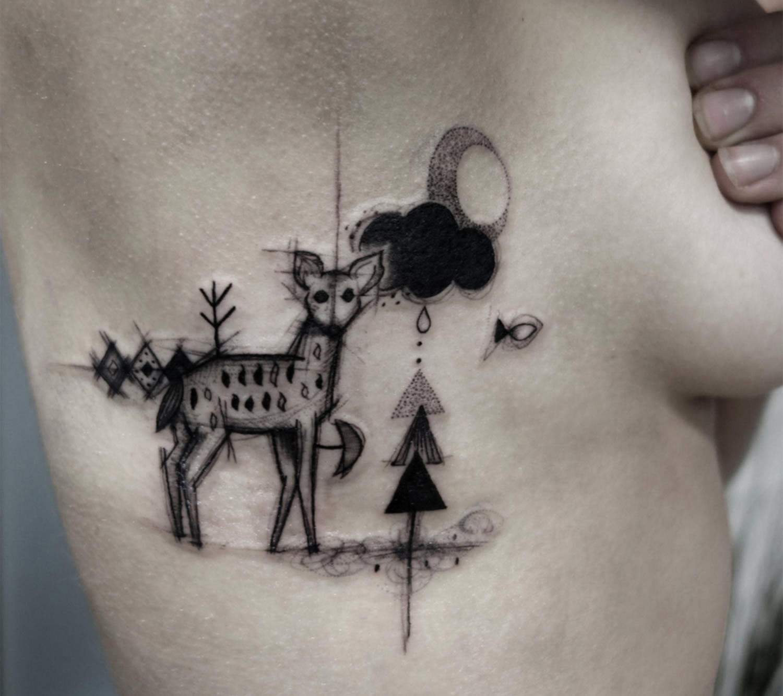 reindeer tattoo, sketch style