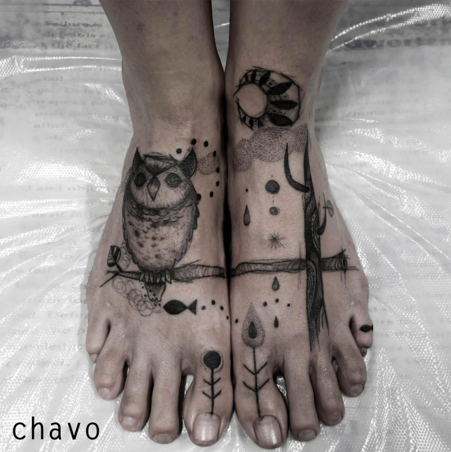 tattoo on feet, owls