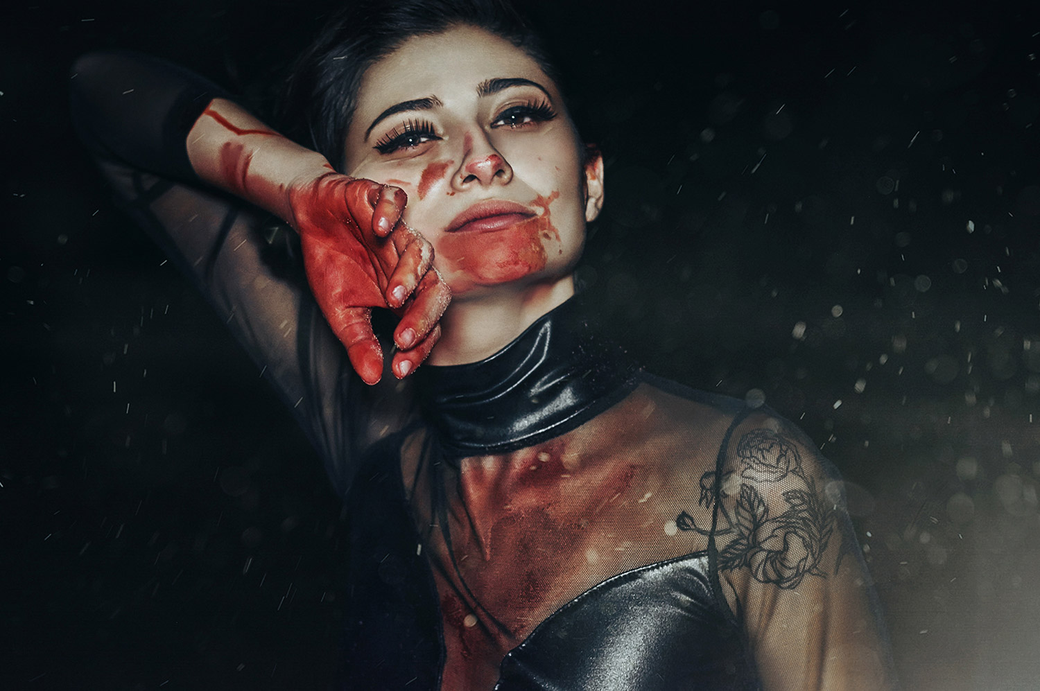 Chris Desabota - Hysteria ft. Gianna Serino and Sami Mitchell - woman wiping face covered in blood