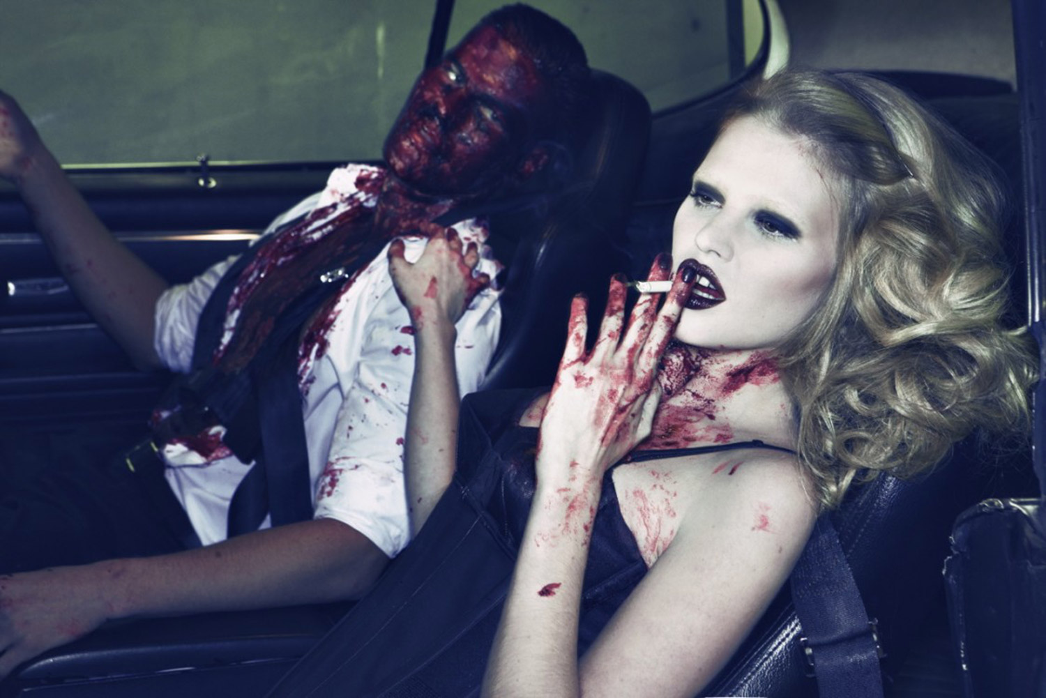 Steven Klein, for Vogue - woman smoking cigarette in car next to bloodied man