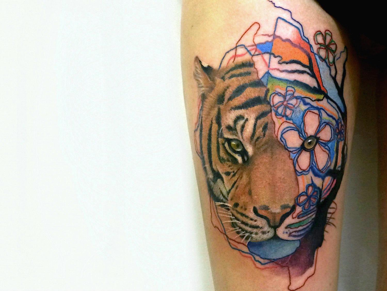 Dzikson Wildstyle pop art tiger tattoo
