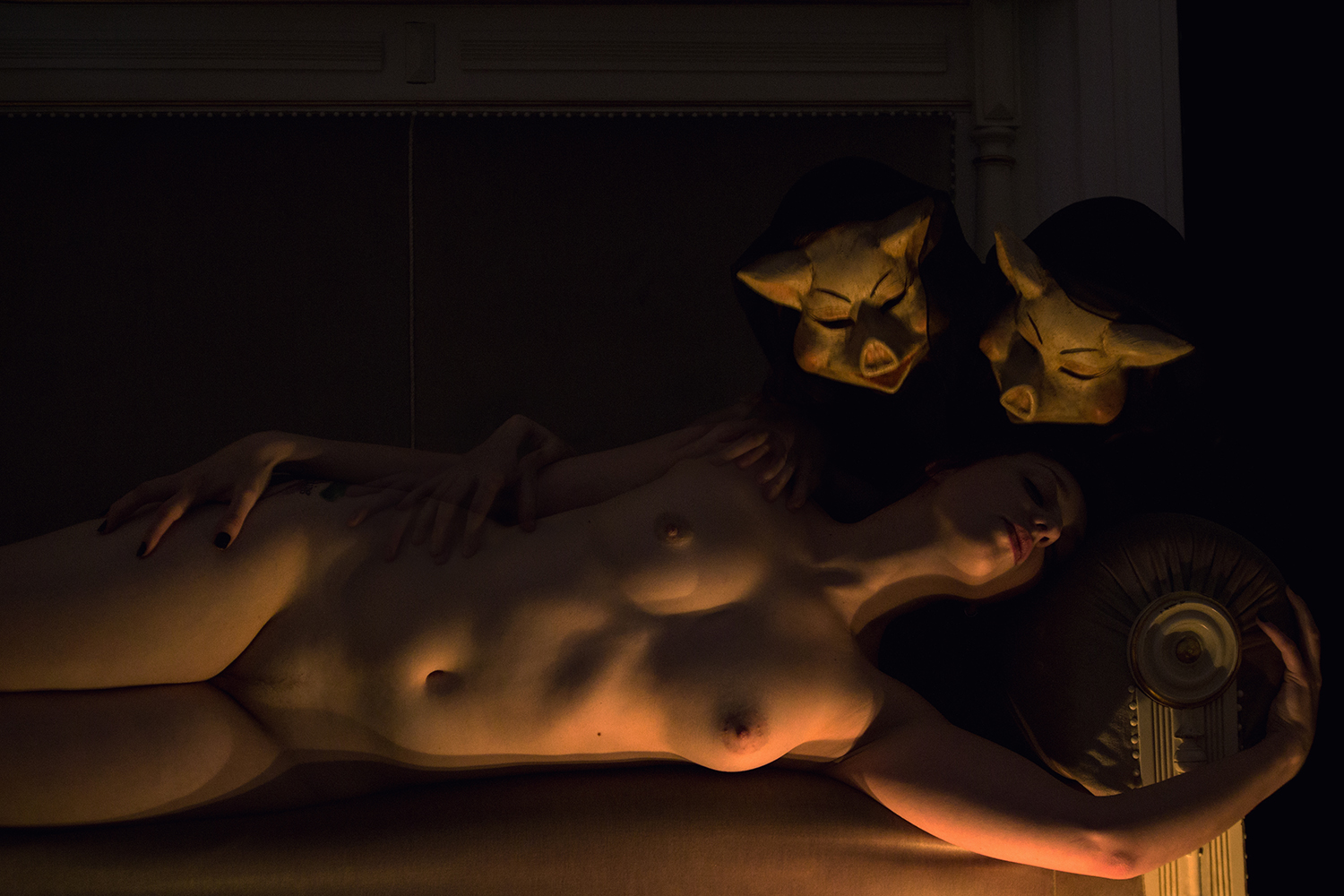 Elena Helfrecht, Nightmares - woman in dark room with pig masks above