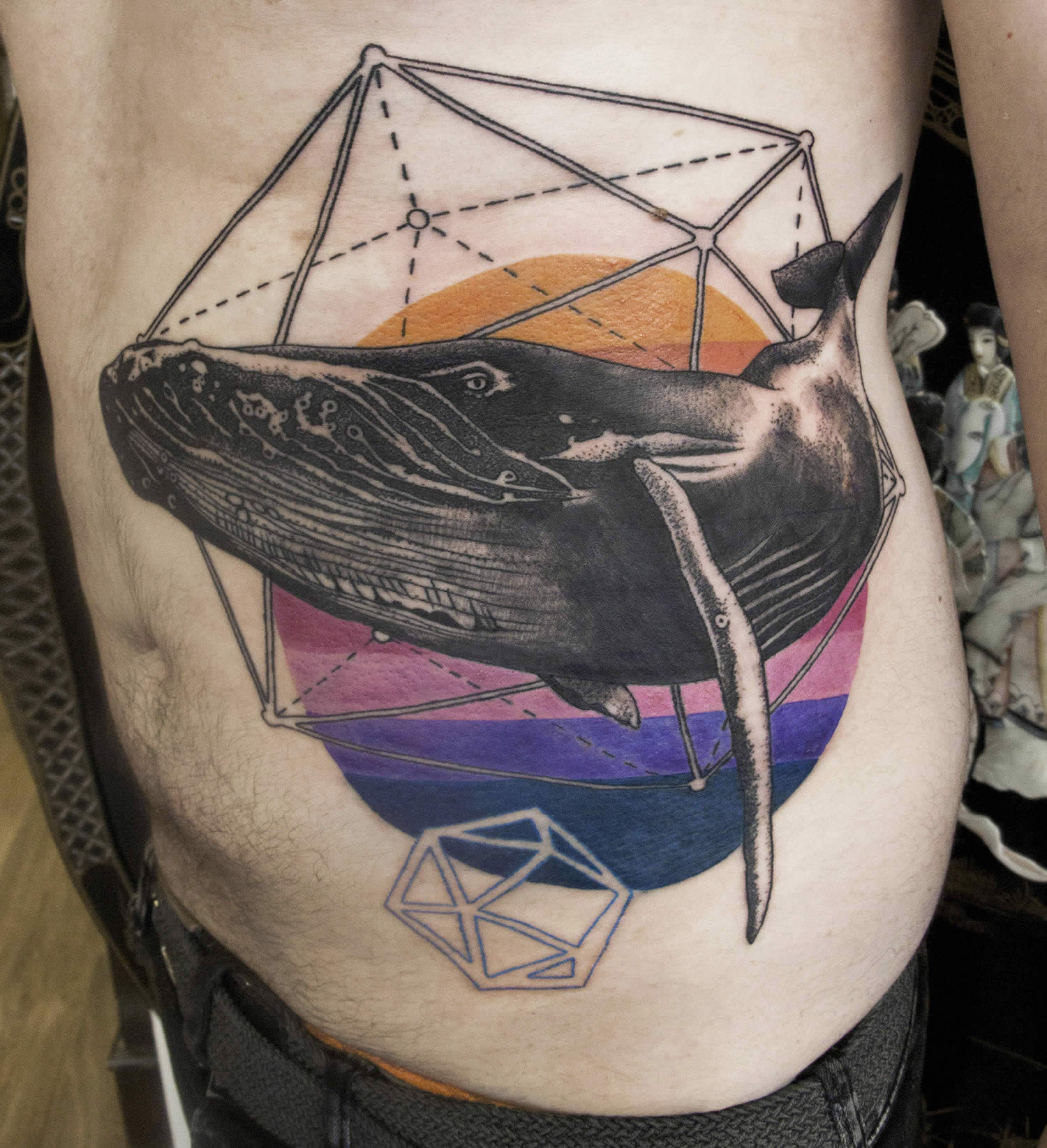 whale tattoo with geometric shapes