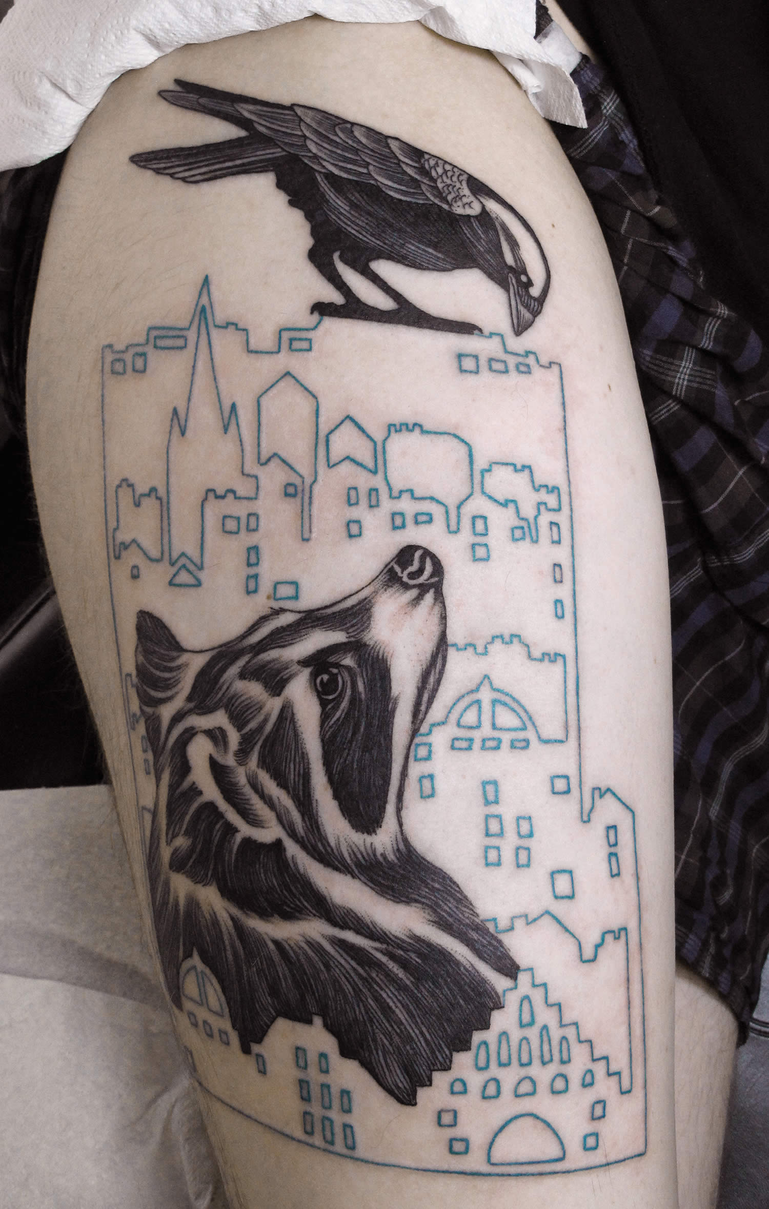 bird and dog, cityscape tattoo