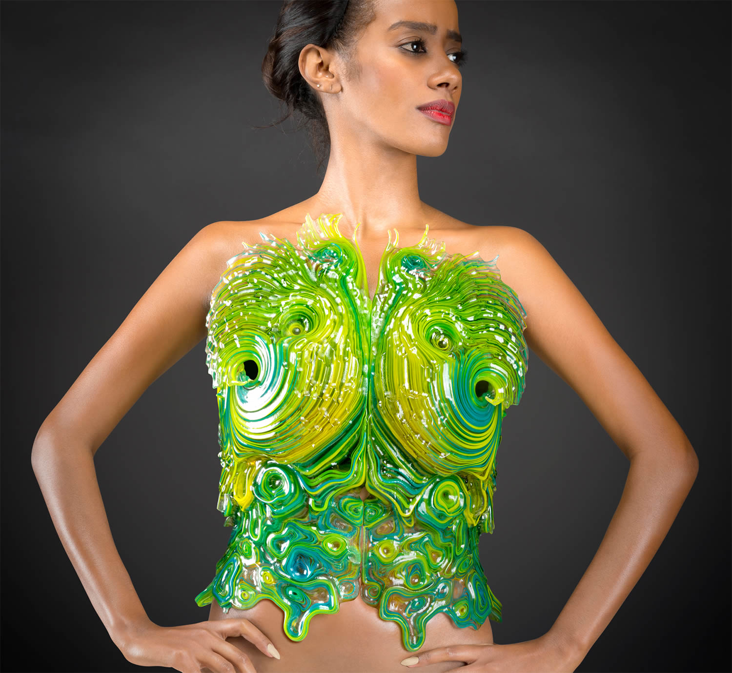 futuristic green dress by Neri Oxman