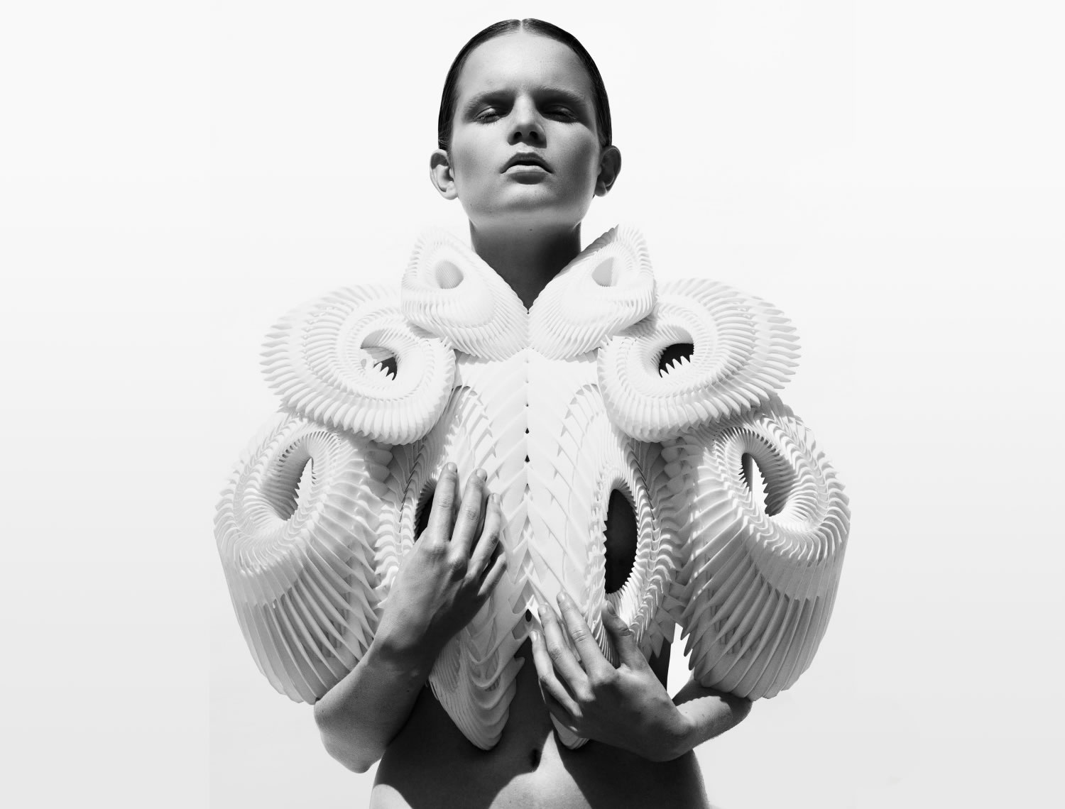 3d modelling type dress, in white, by Iris Van Herpen