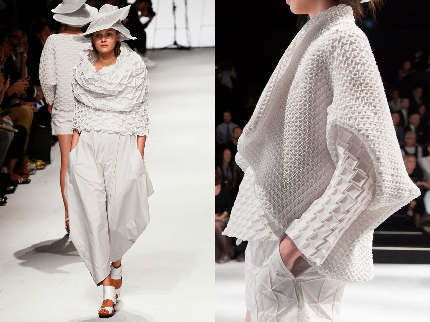 white clothing, with patterns and textures, by Issey Miyake