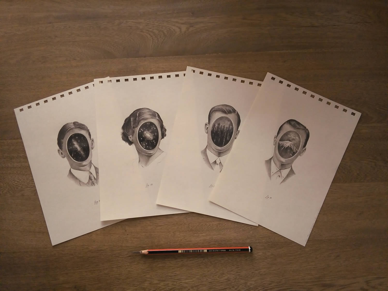 various portraits on paper