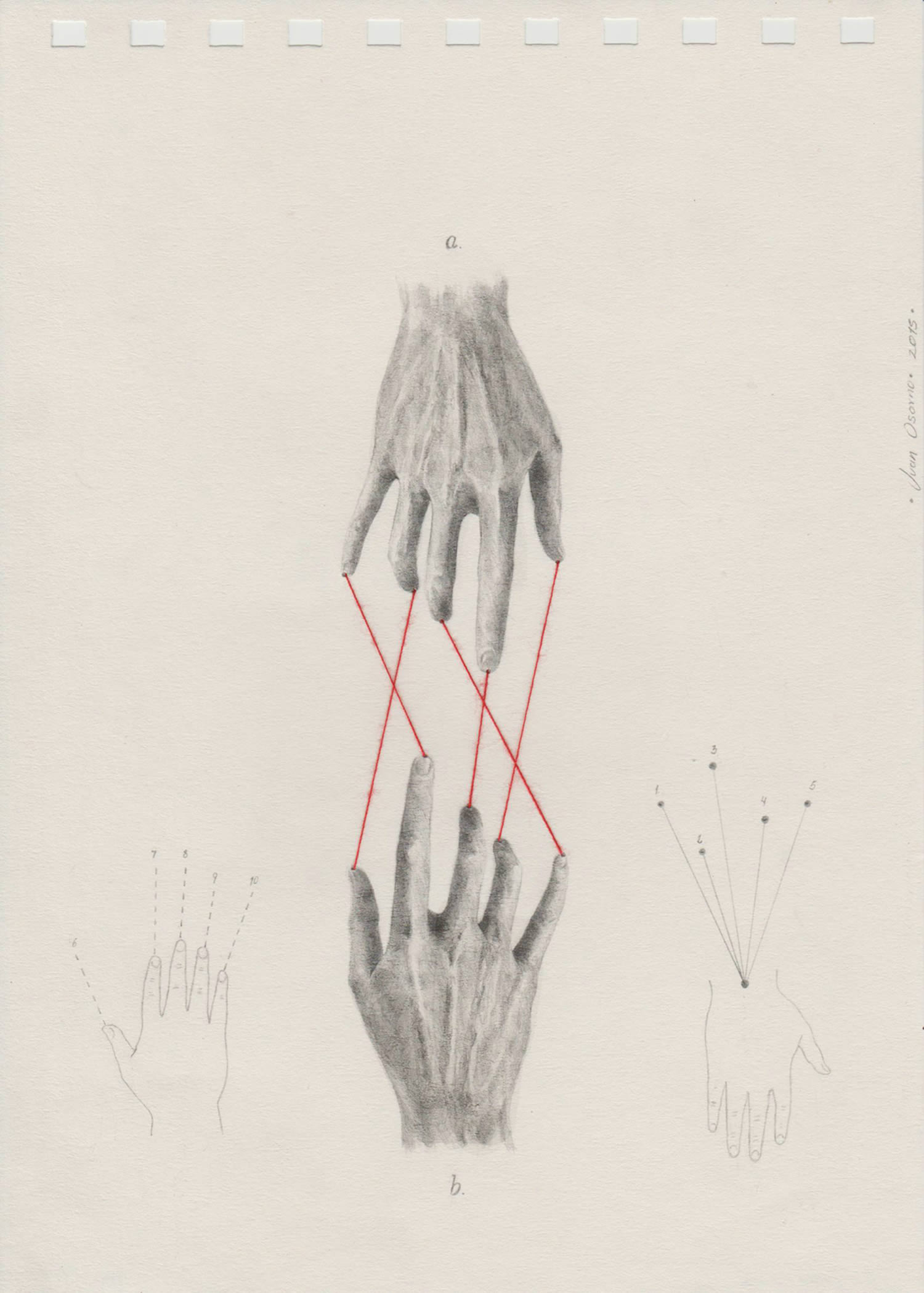 yarn lines connecting to hands, drawing