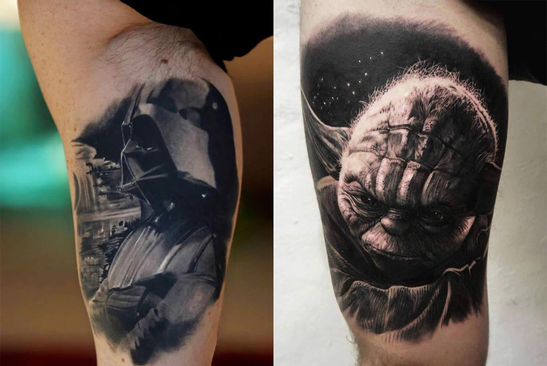 darth vader by Silvano Fiato. yoda by Oscar Akermo Tattoos