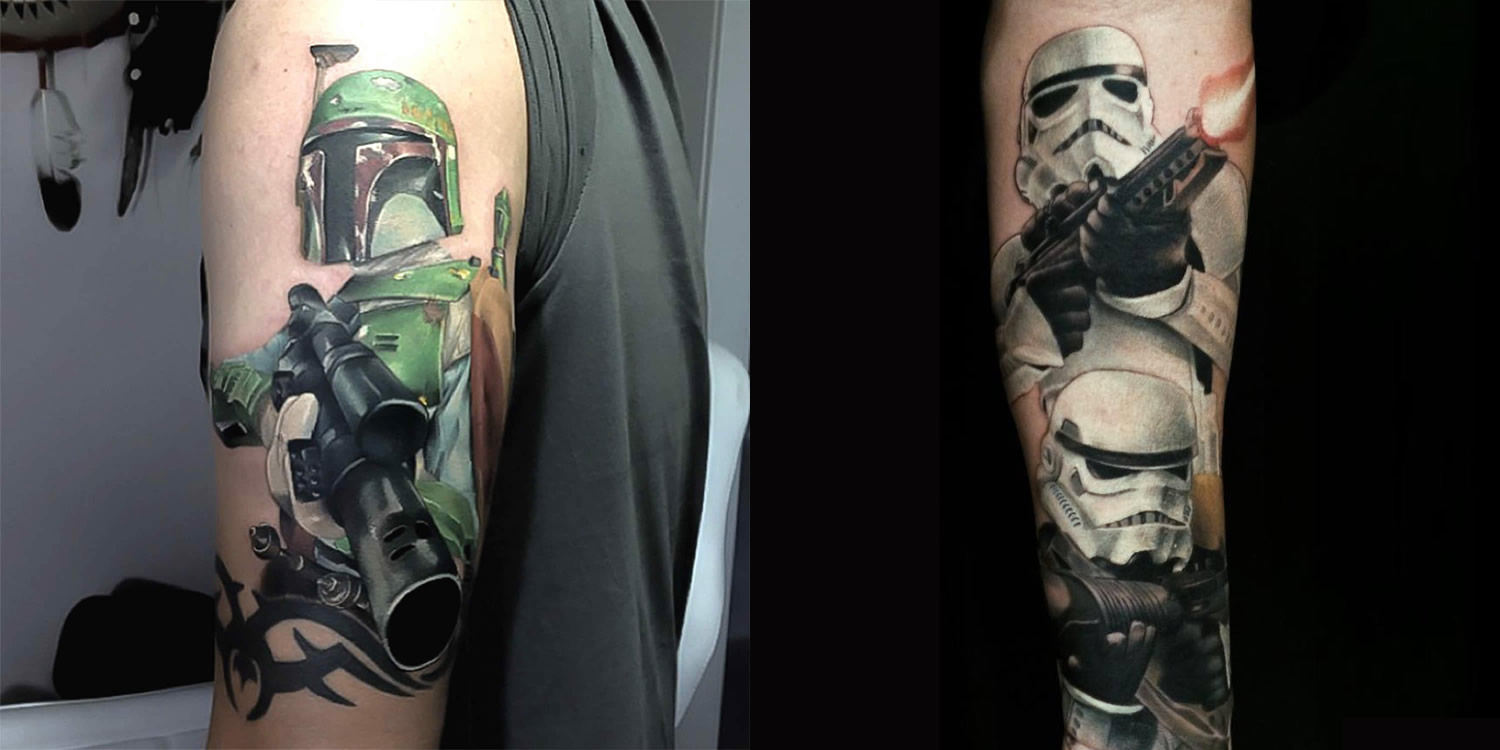 The mercenary Boba Fett and stormtroopers by Dean Lawton.