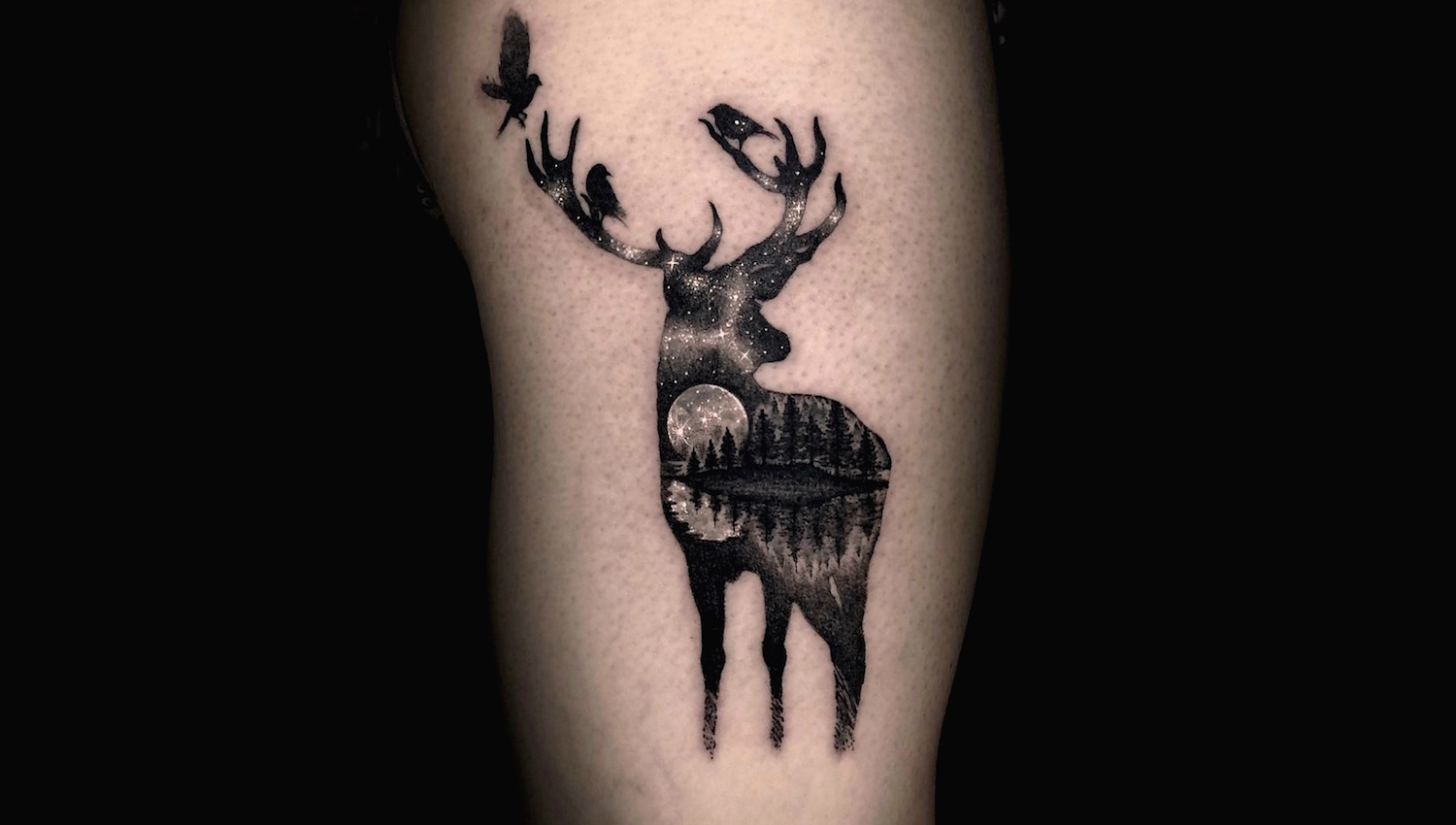 Stag in the starlight tattoo by Varo Tattooer