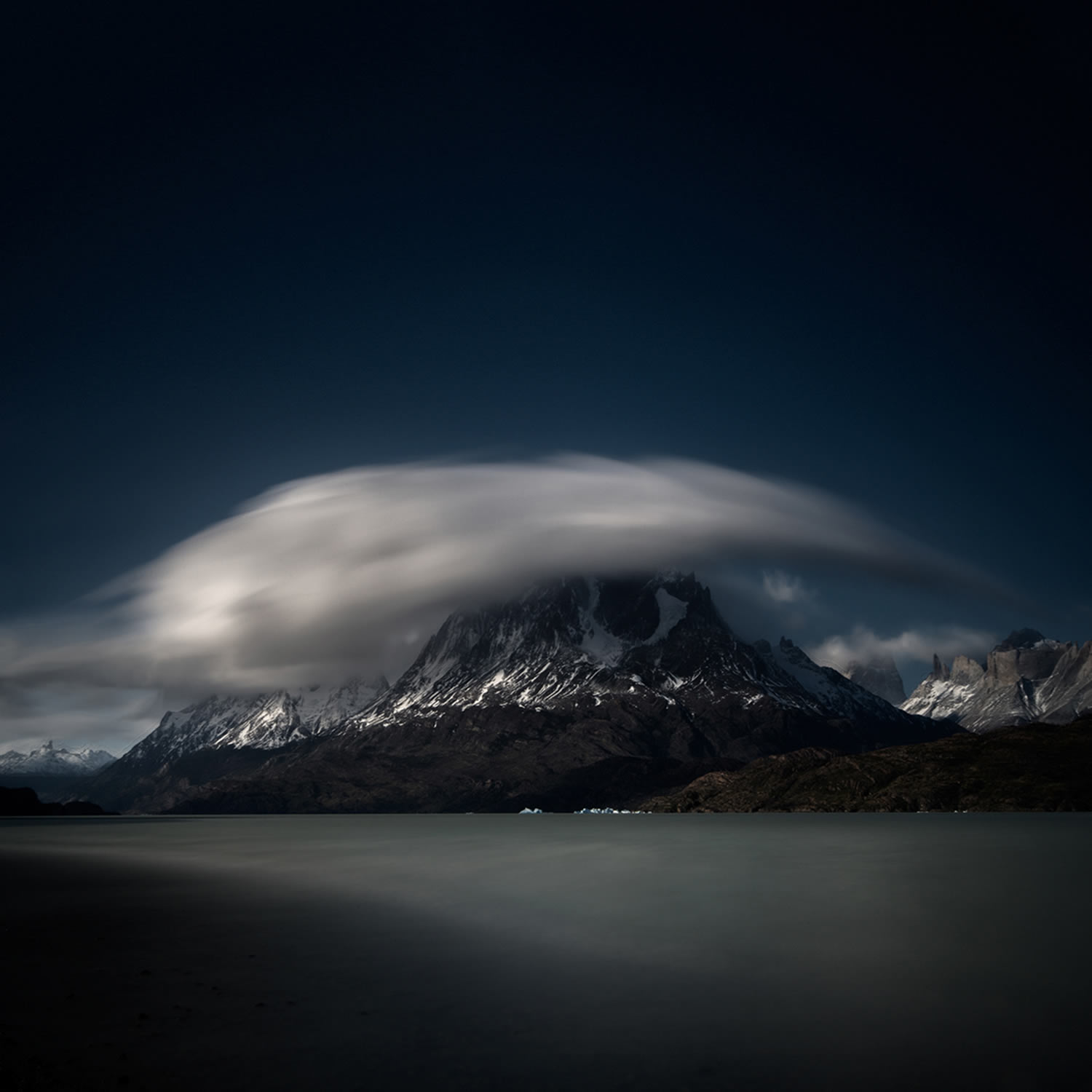 black mountains and clouds, patagonia