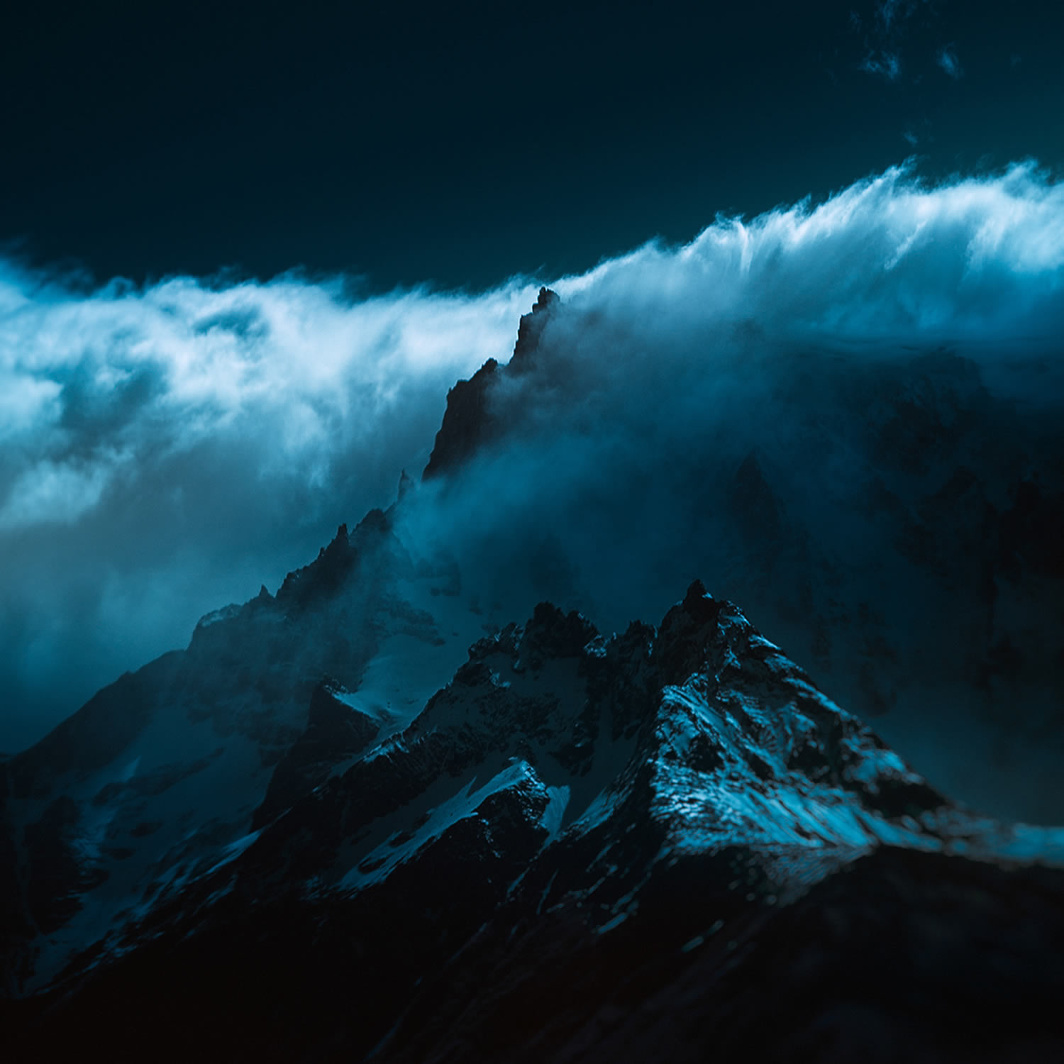 mountain top, blue clouds