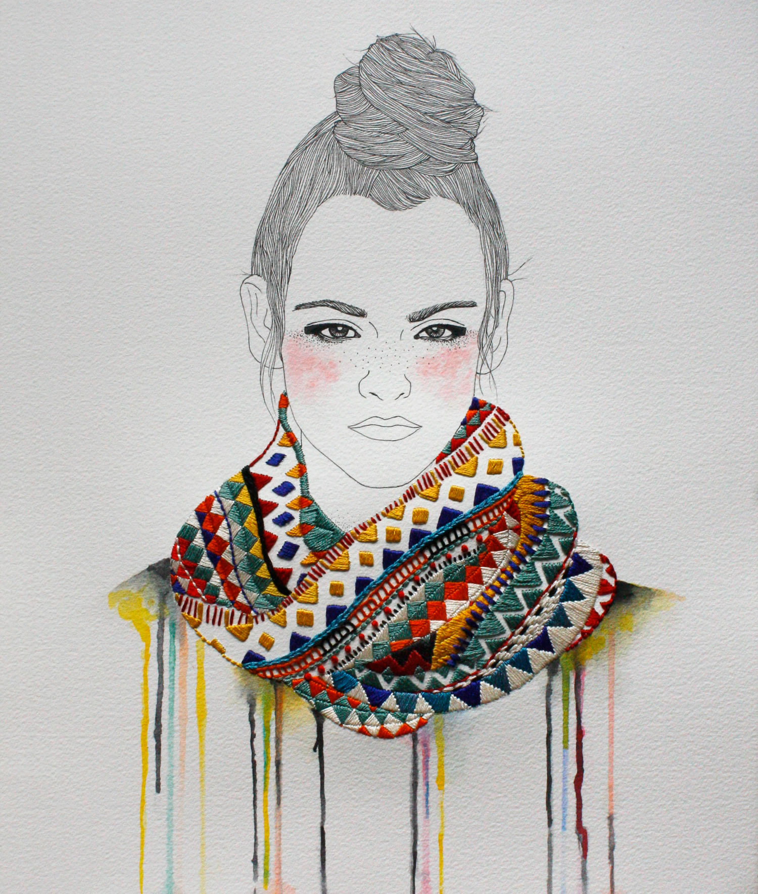 Embroidery on paper gives Izziyana Suhaimi's drawings a three-dimensional feel.