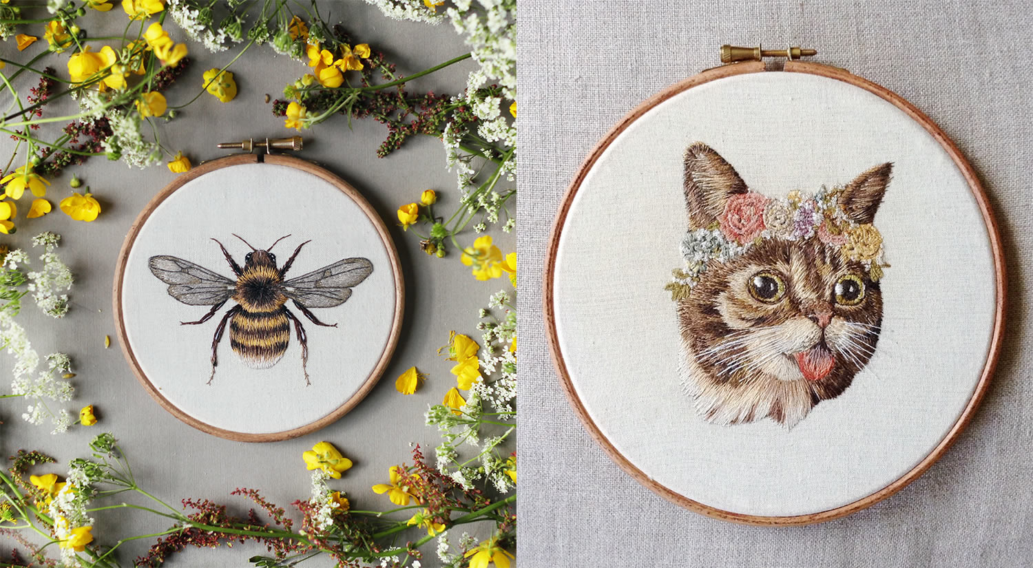 bumblebee and cat embroidery by Emillie Ferris