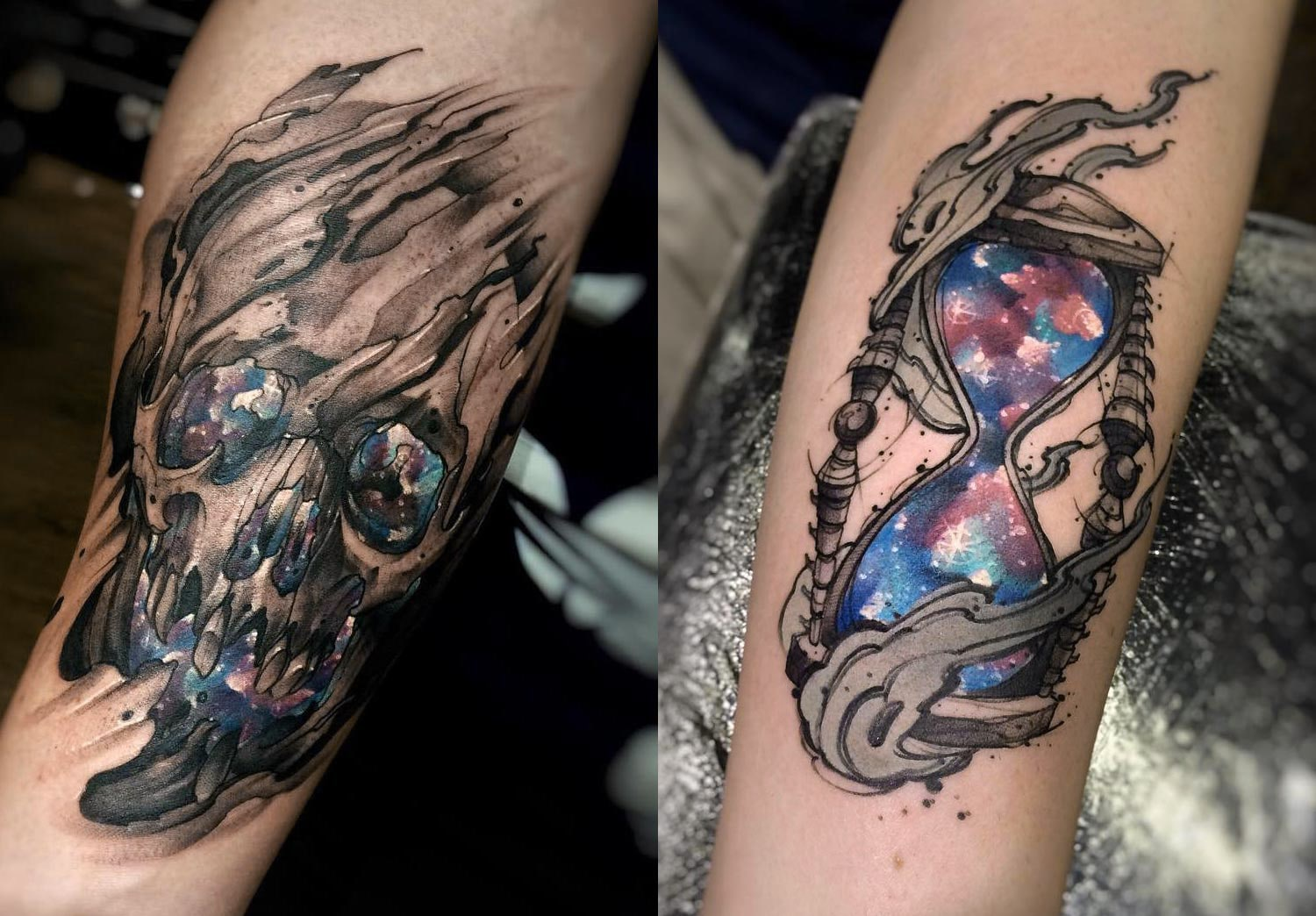 skull and hourglass, Tattoos by Felipe Rodrigues