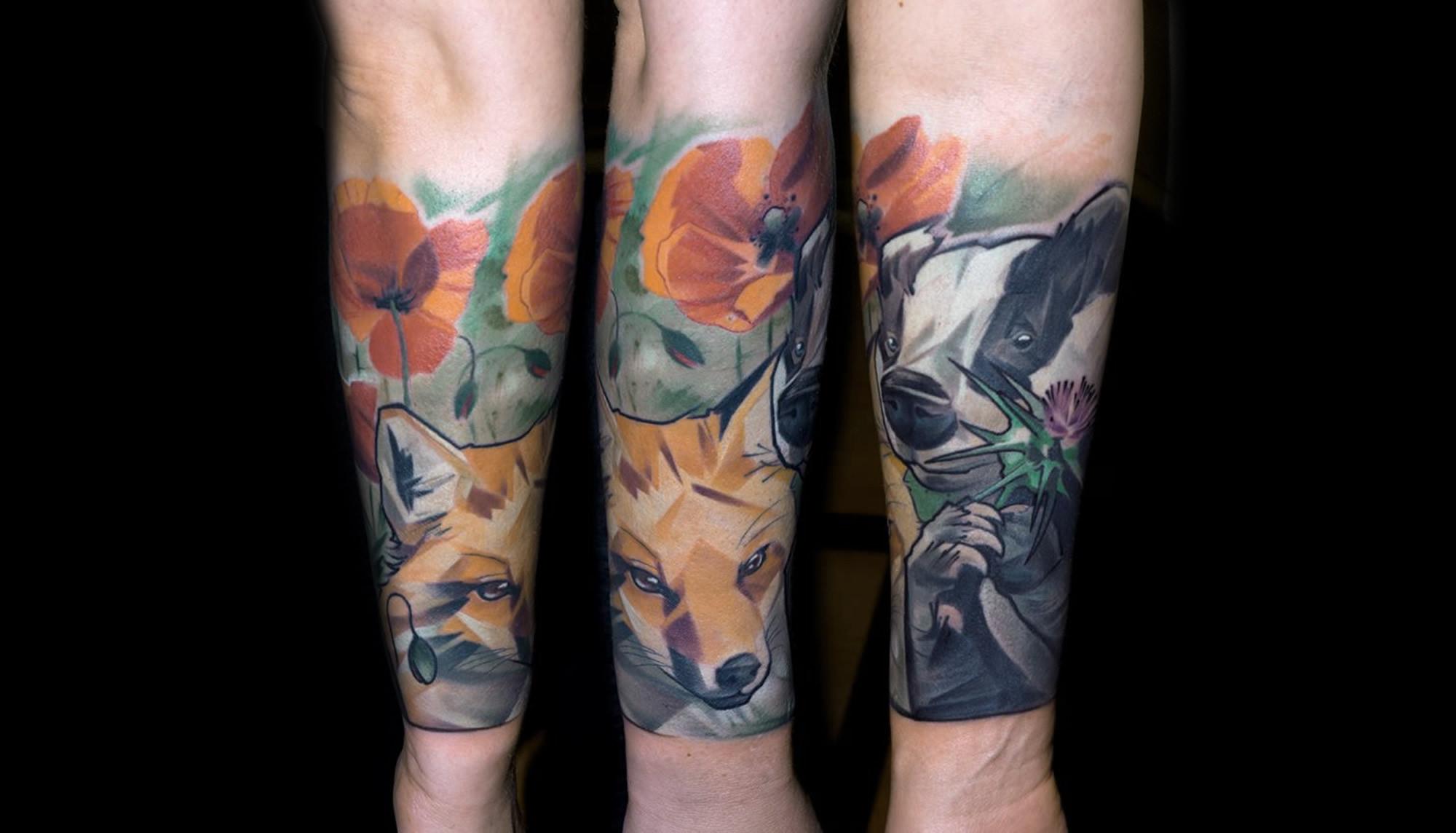 fox and flowers tattoo by Halasz Matayas