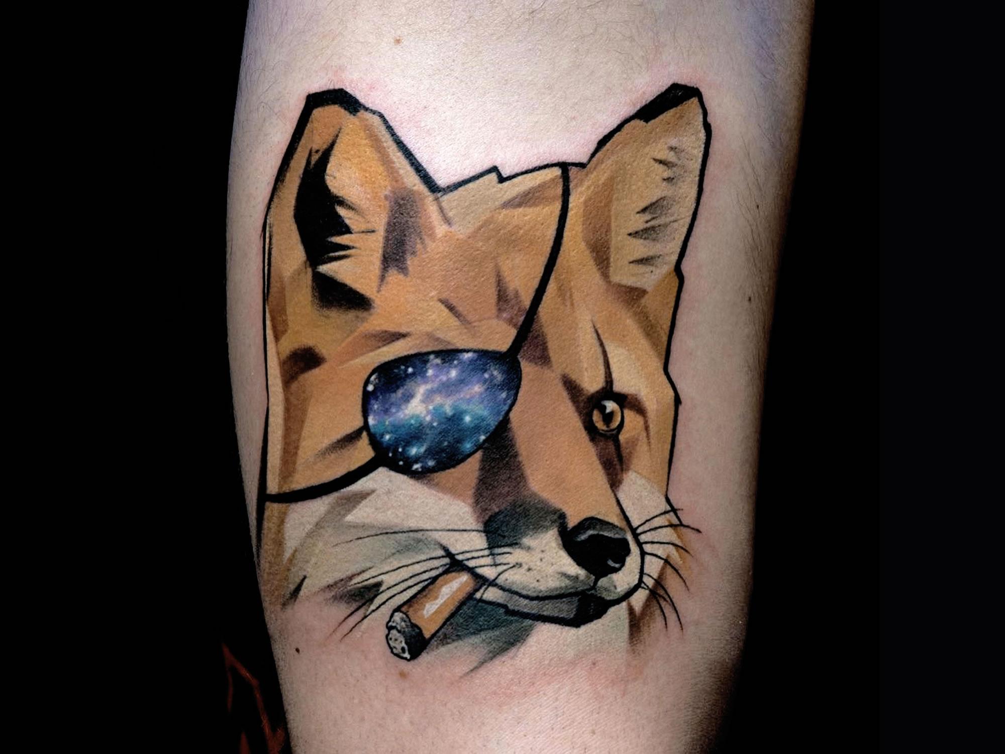 fox with eye patch tattoo