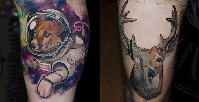 astronaut dog and deer tattoos by Halasz Matayas
