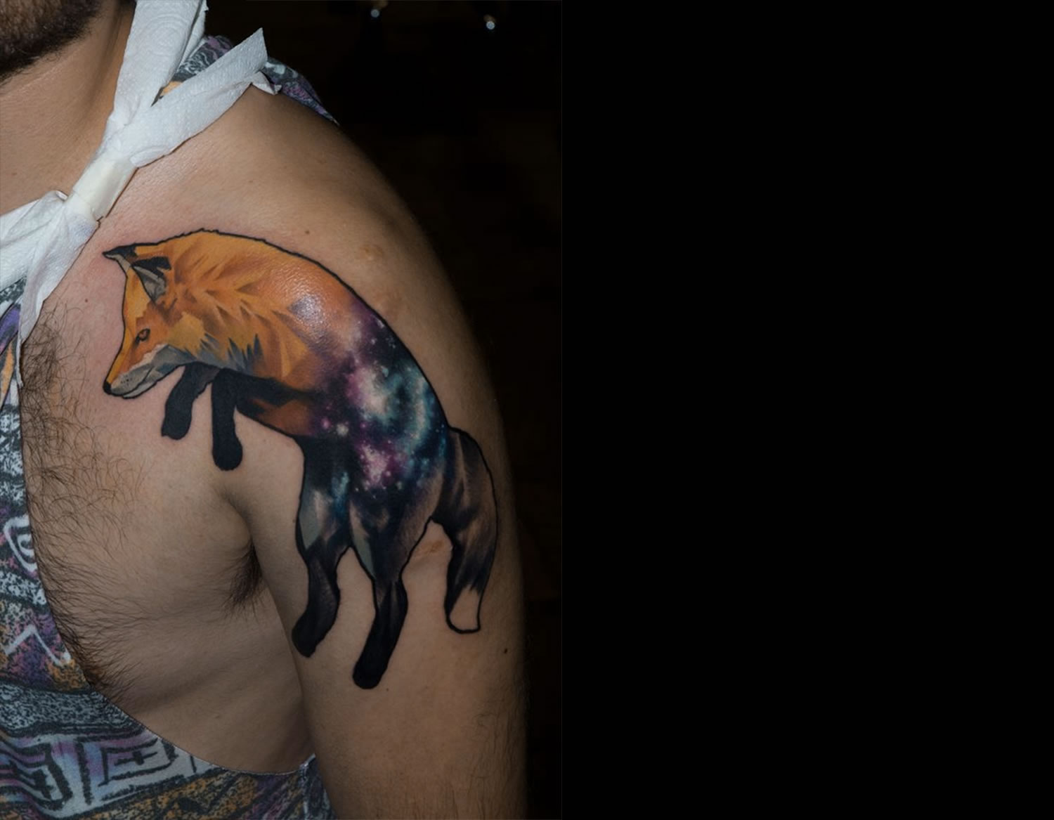 fox and space tattoo