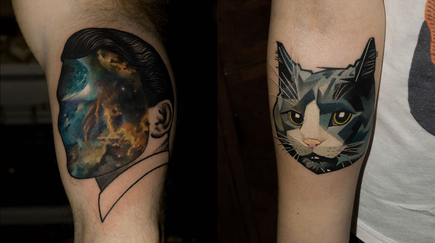man with galaxy face and cat tattoos, double exposure