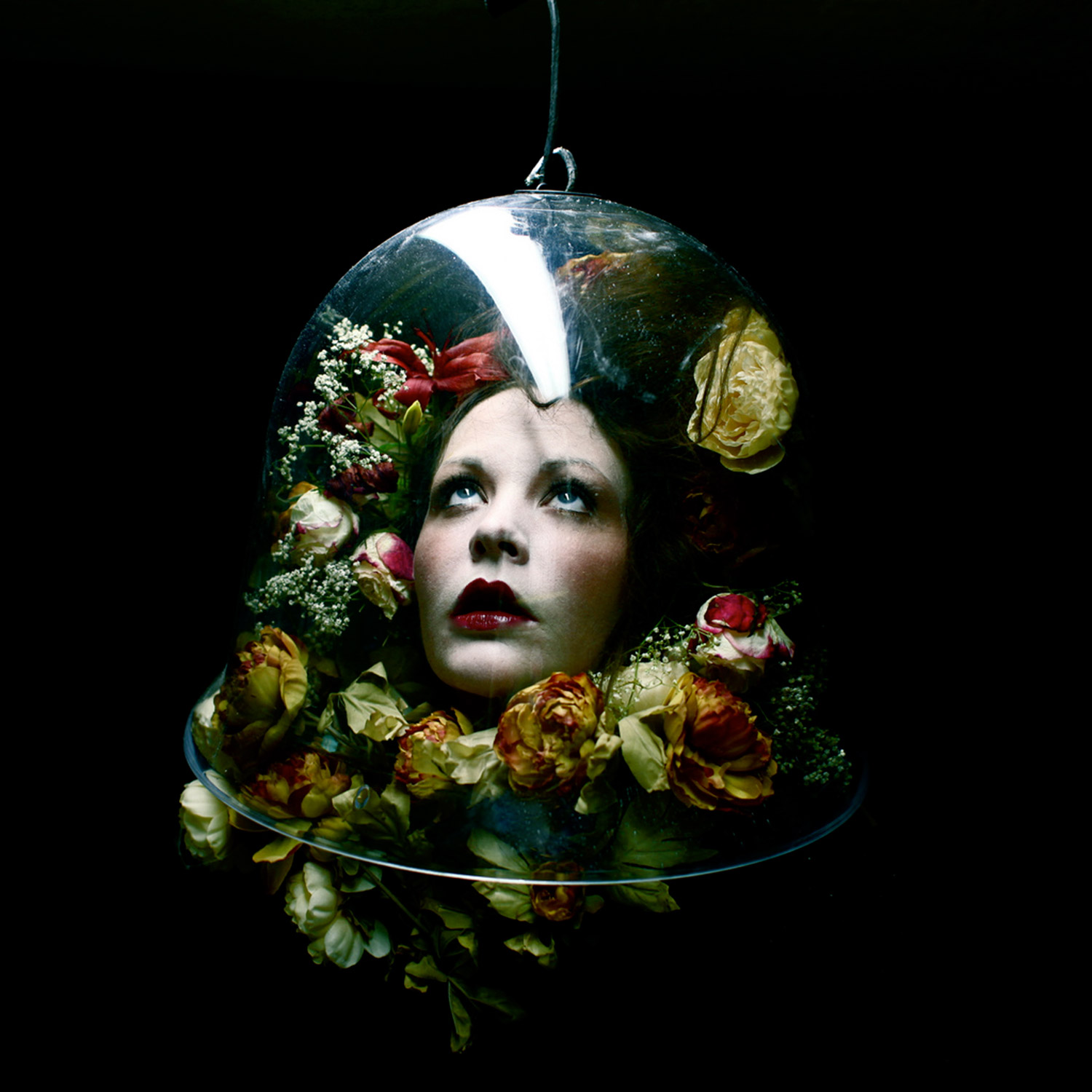 Helen Warner, Preservation - melancholic head among flowers in a bell jar