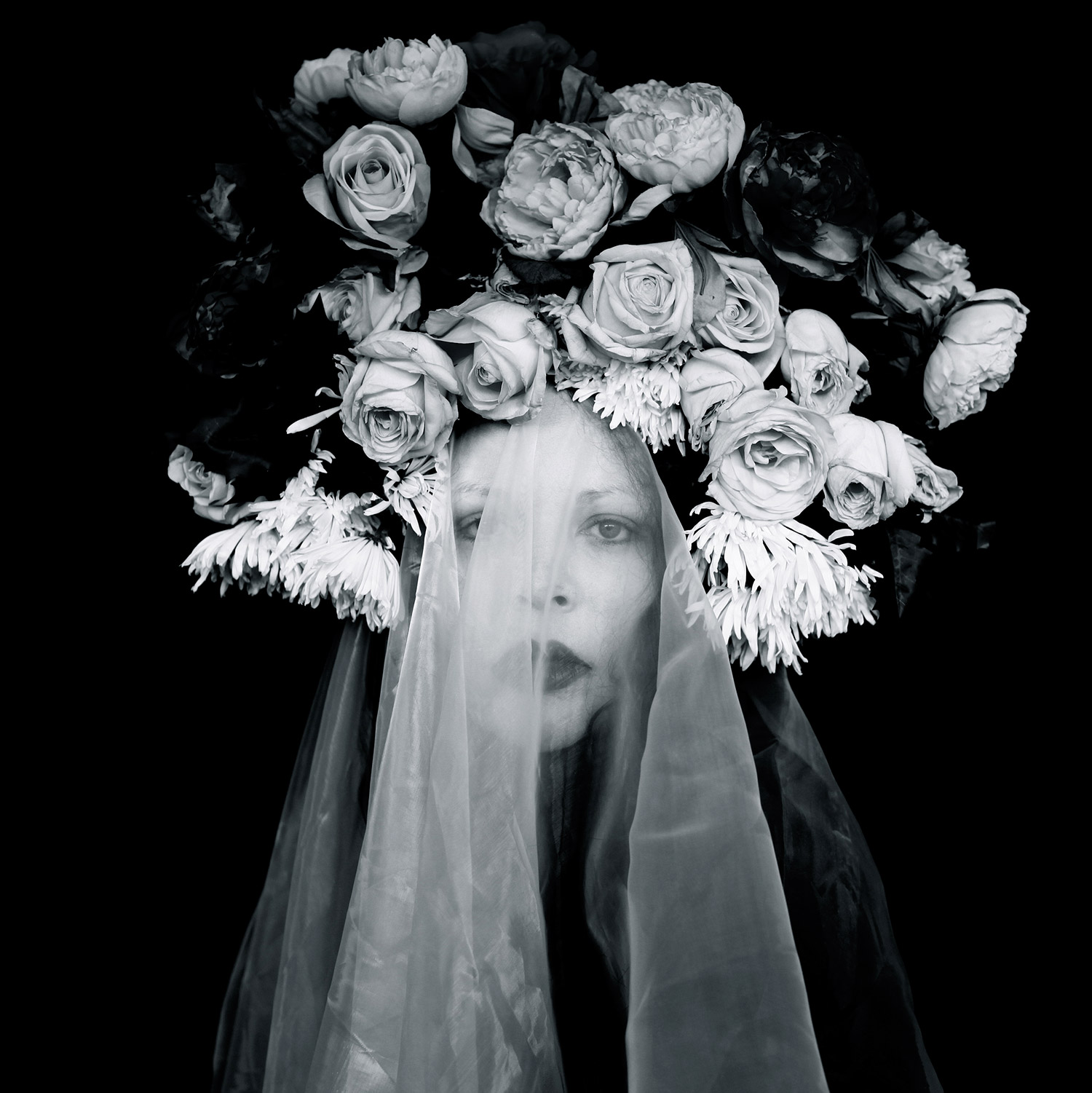 Helen Warner, Self Portrait - woman wearing roses with shroud