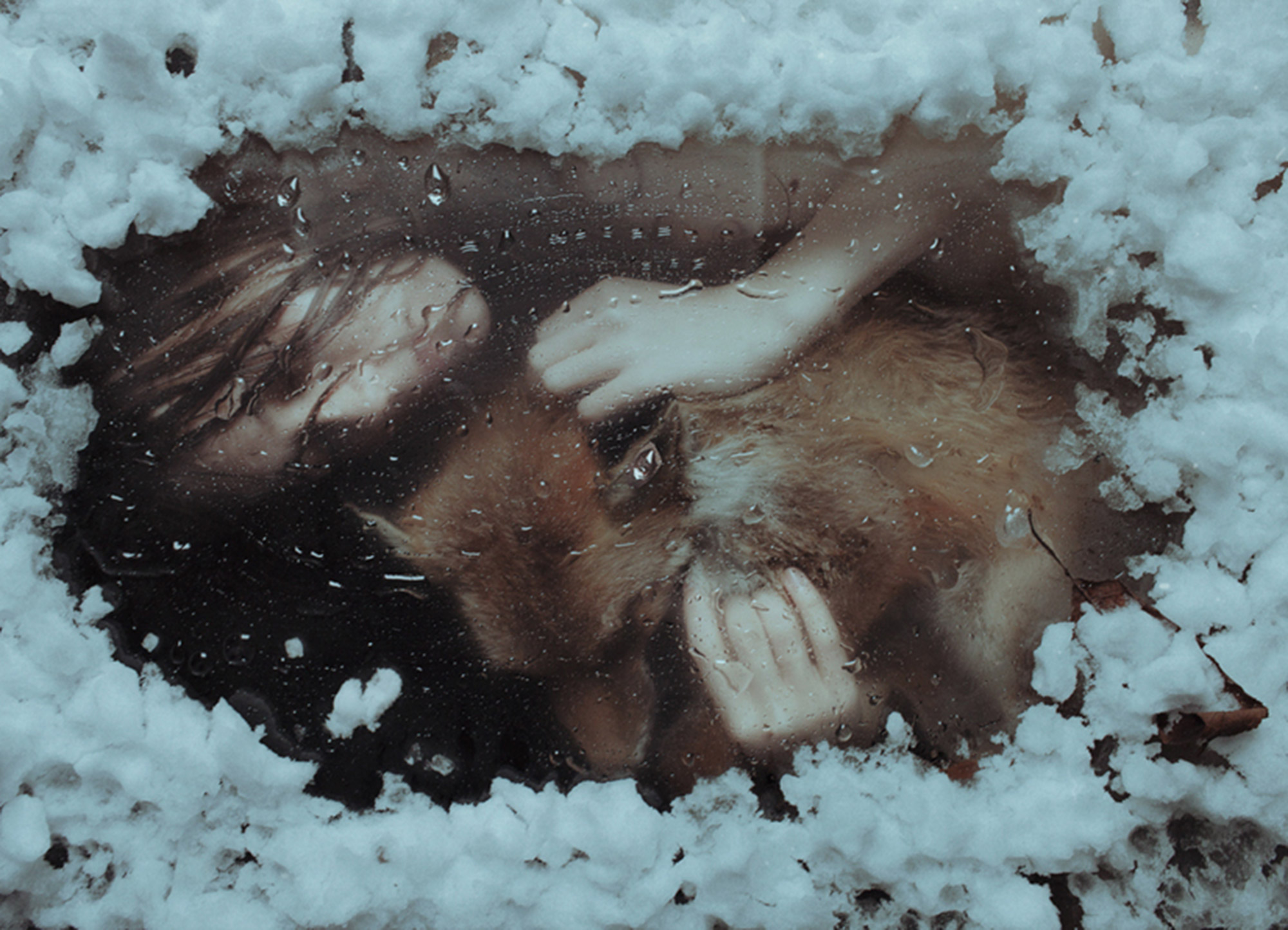 Laura Makabresku, Wintersleep - woman and fox sleeping under ice