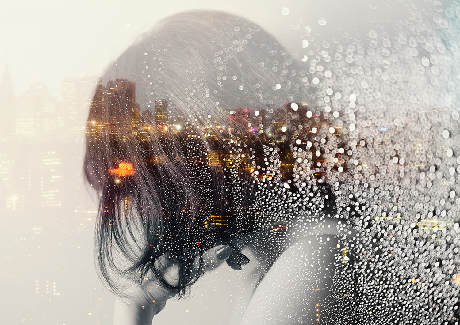 double exposure, rain drops and girl