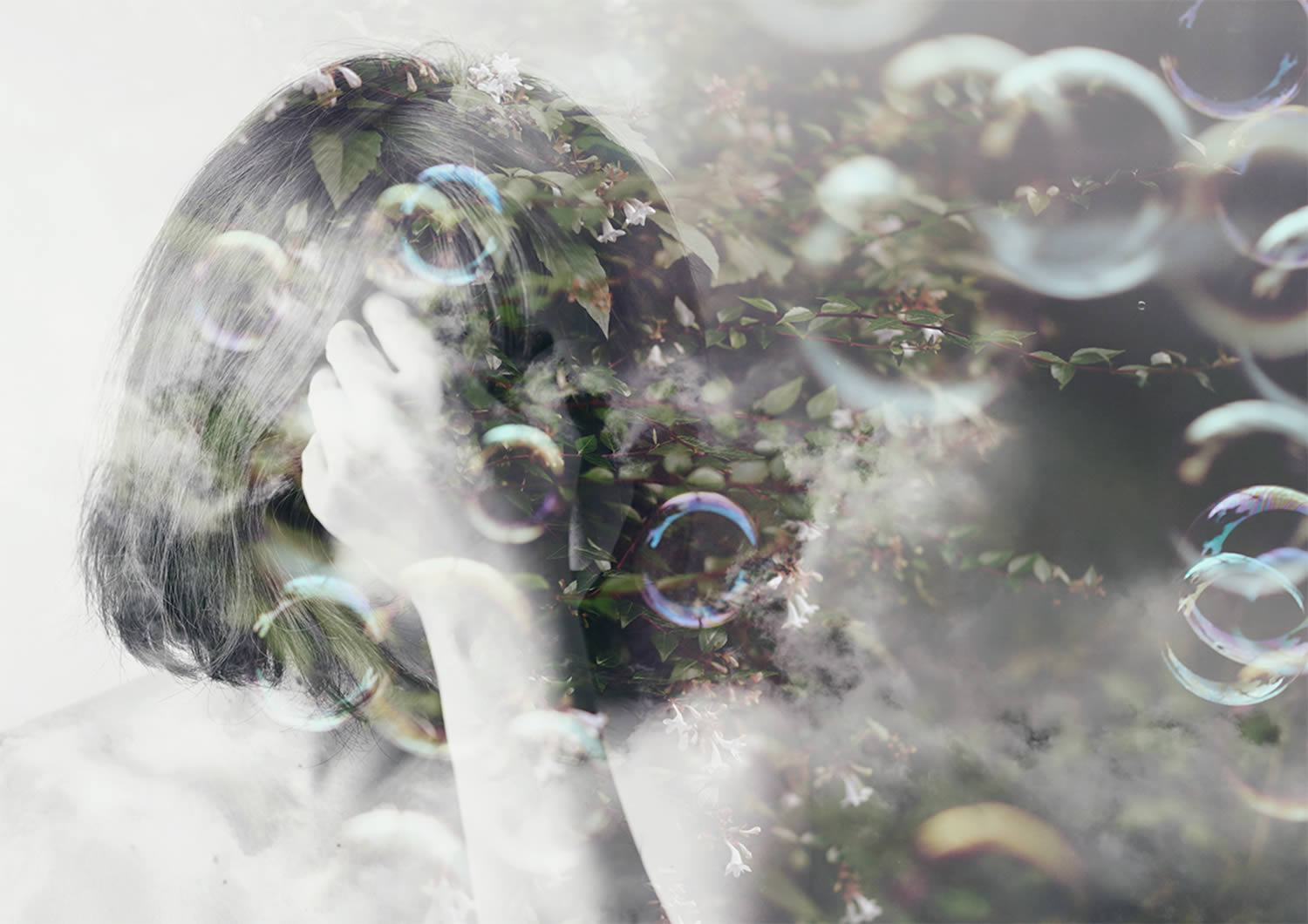 double exposure photo, portrait of girl with soap bubbles