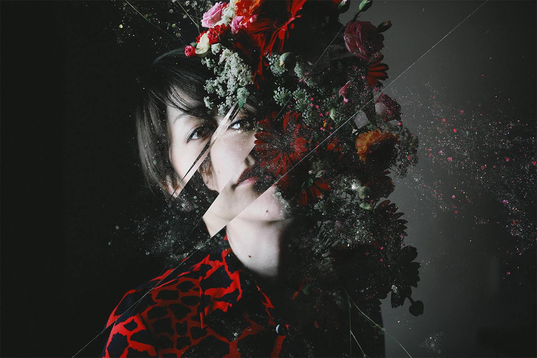 portraiture, broken glass, an assortment of flowers