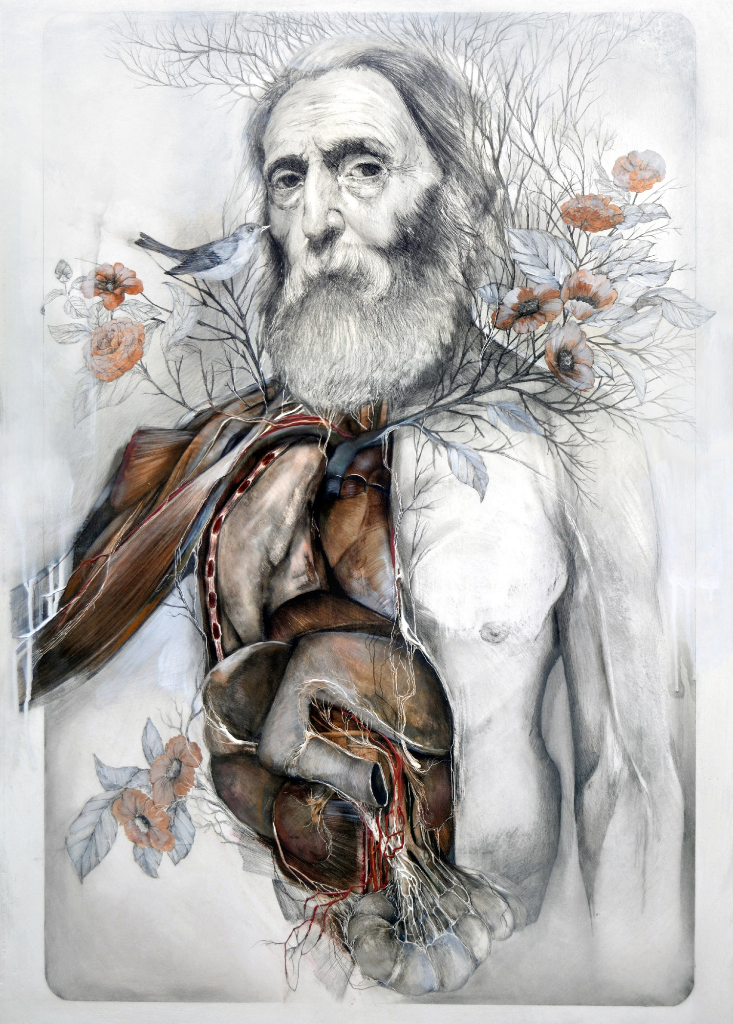 Nunzio Paci, The Slow Sprouting of the Flesh - man with internal organs exposed with flowers growing from shoulders