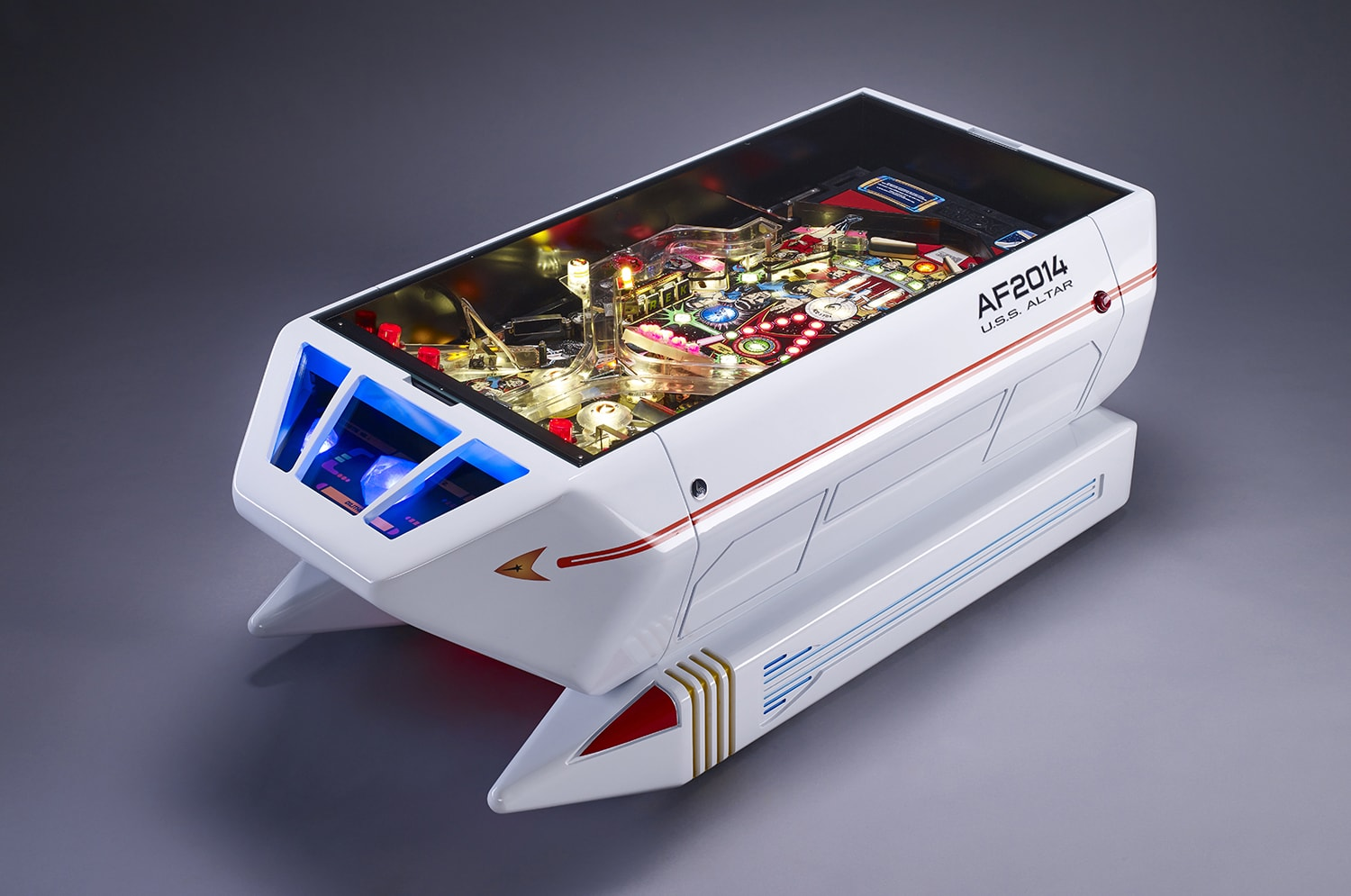 """The Shuttle"" coffee table was conceived by András Lacfi and inspired by 1991 Star Trek pinball machine."