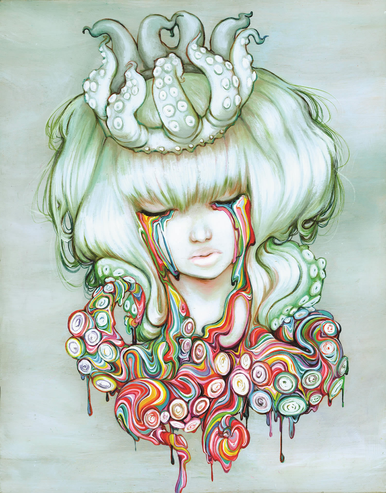 rainbow paint drips from eyes, by Camilla d'Errico