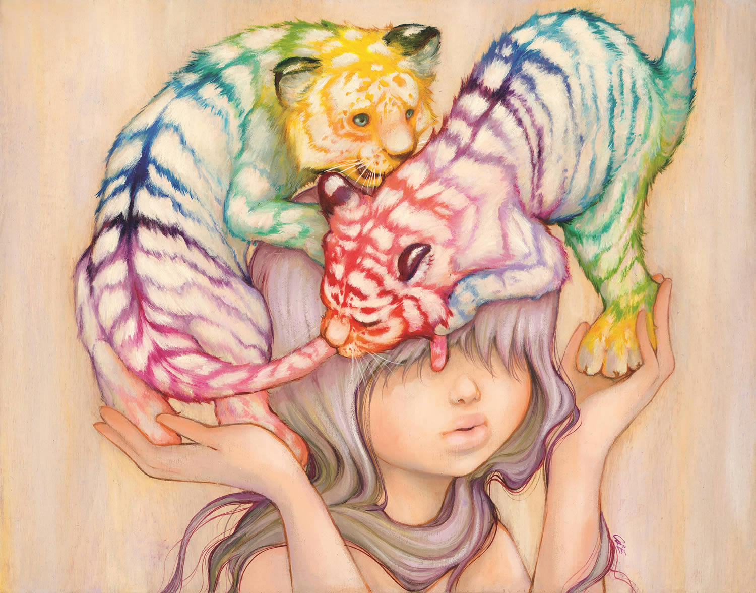 baby tigers on girl's head, painting by Camilla d'Errico