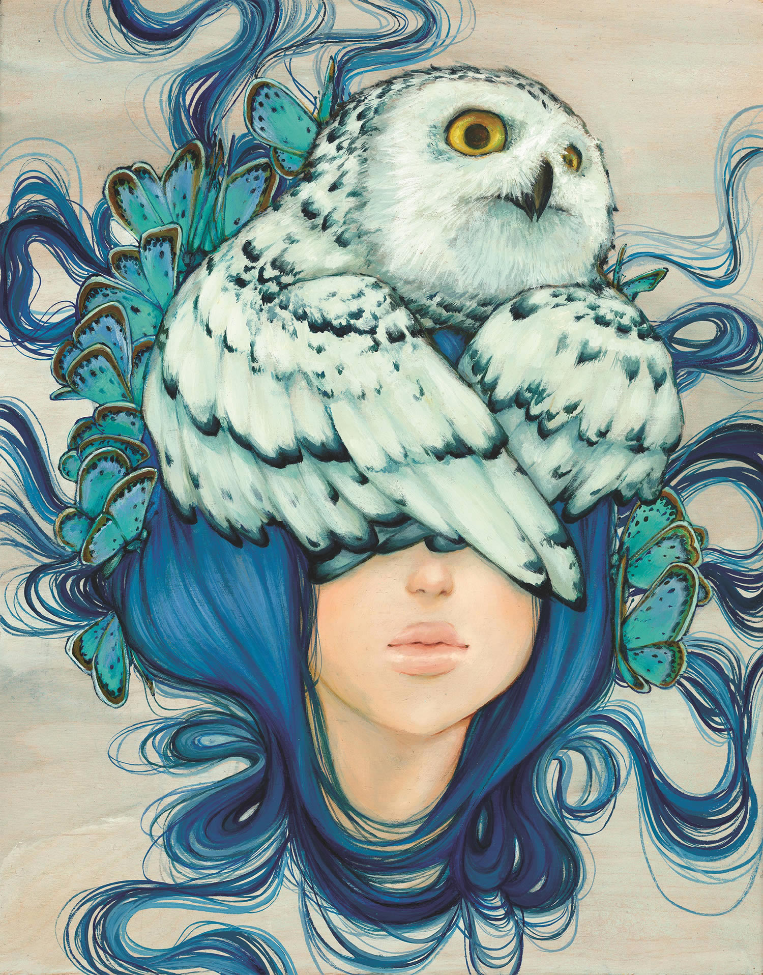 owl face girl, pop painting by Camilla d'Errico