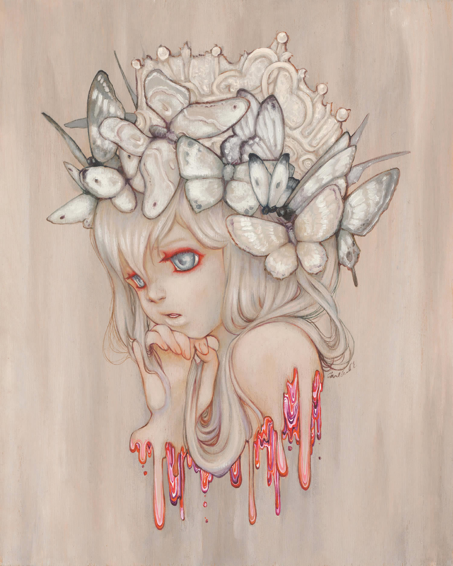butterfly girl, painting by Camilla d'Errico