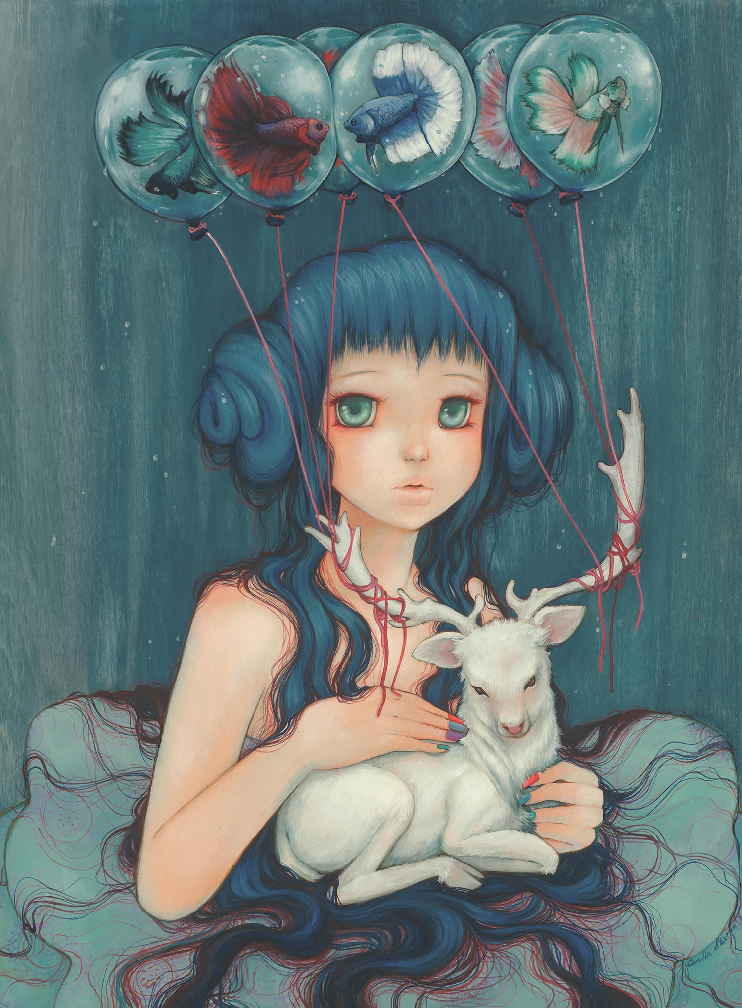 girl with balloons, blue, by Camilla d'Errico
