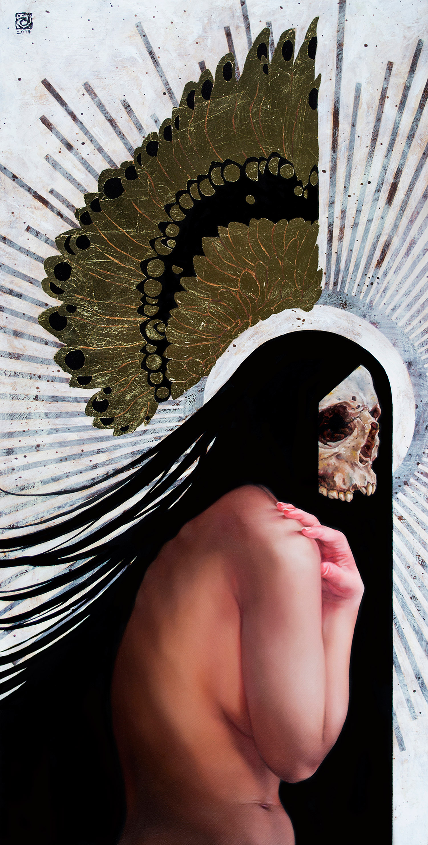 Carly Janine Mazur, Fallen - oil, acrylic, and gold leaf