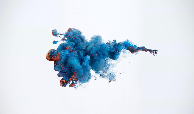 blue paint, portrait of future