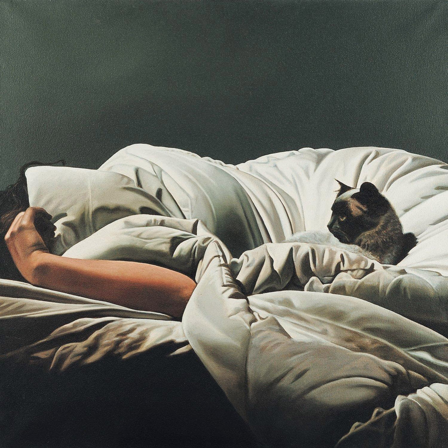 Gerard Schlosser - woman lying in bed with cat