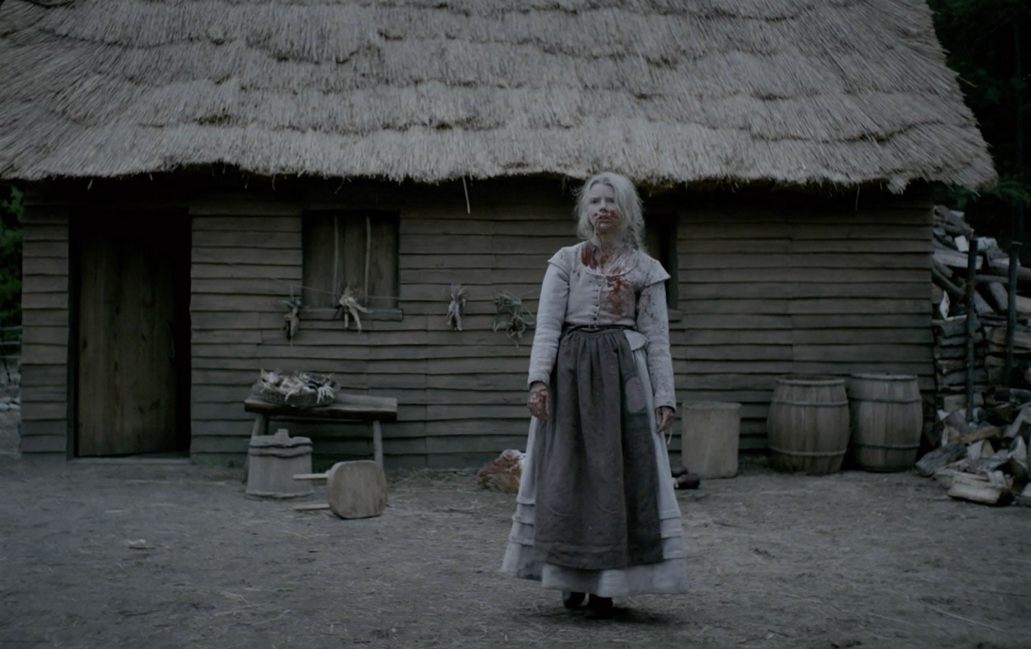 woman with blood on clothing in The witch movie