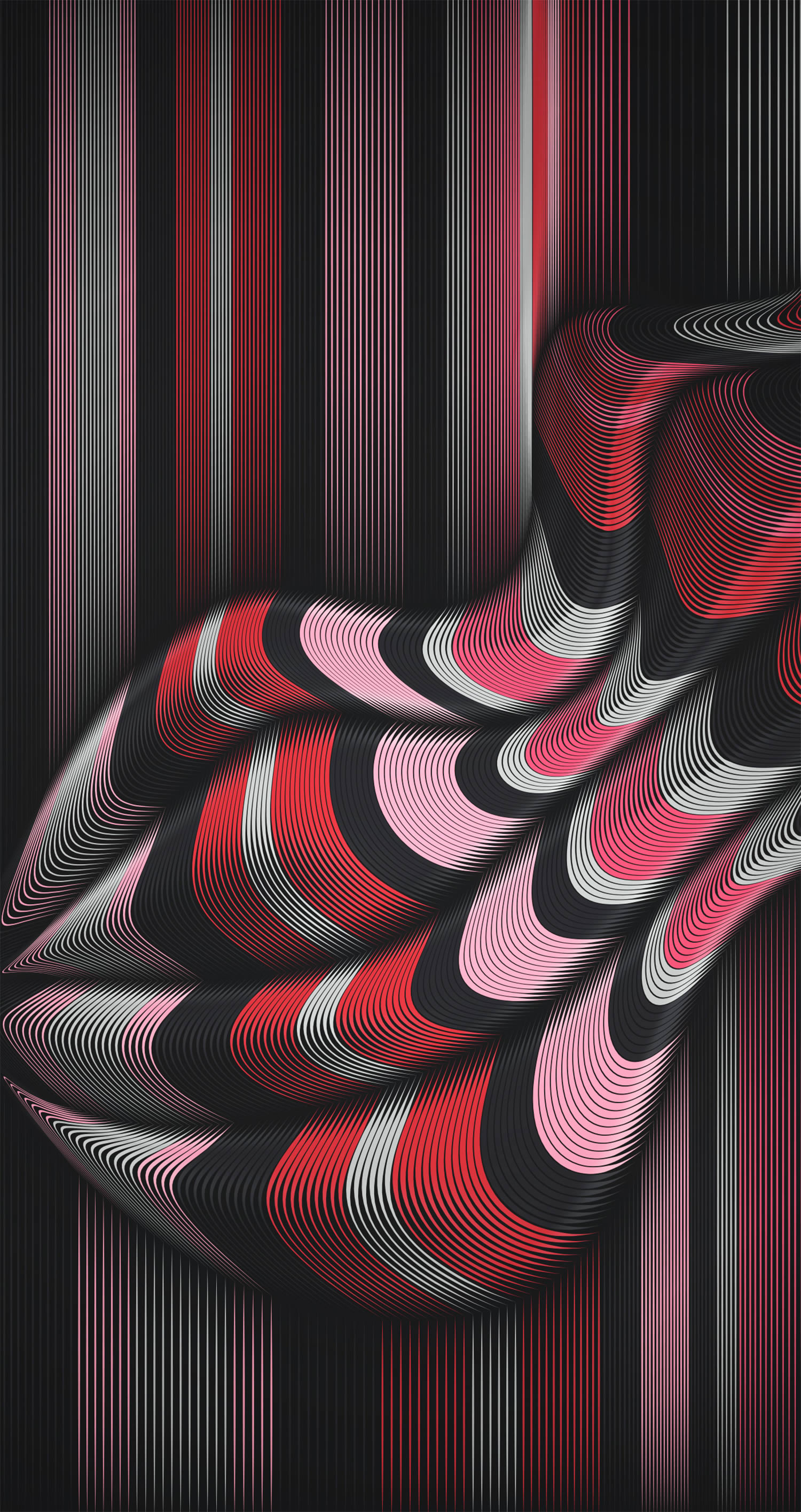 red and pink waves, line art