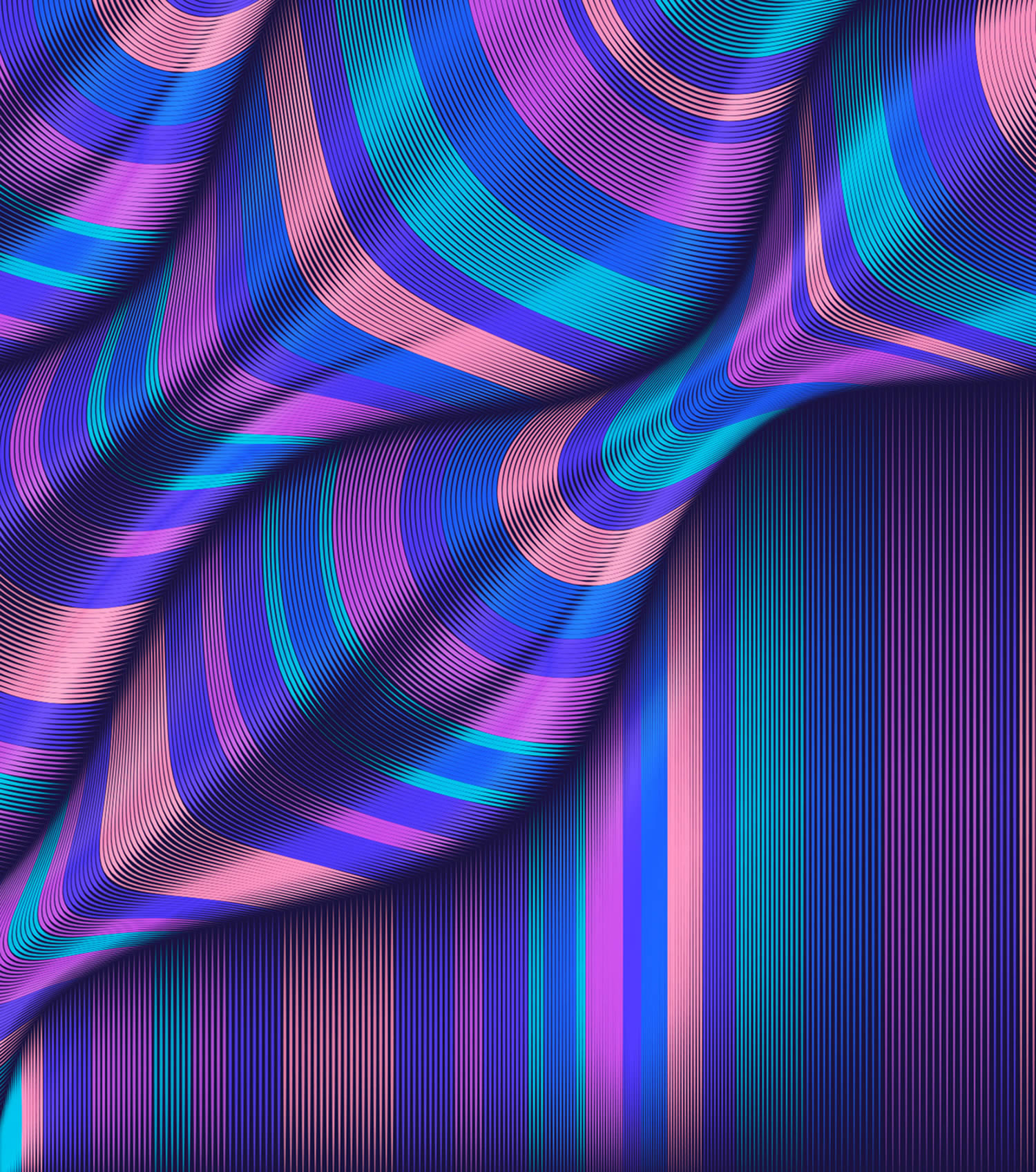 purple and pink bubbly waves, illustration