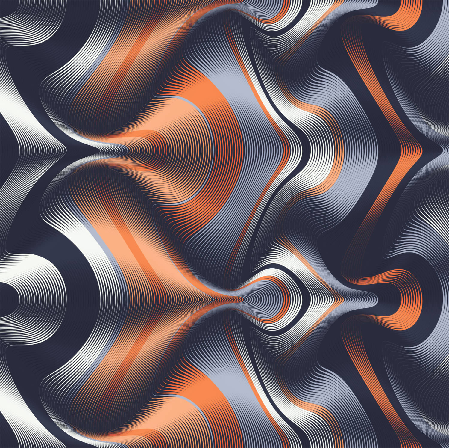orange and grey waves, illustration