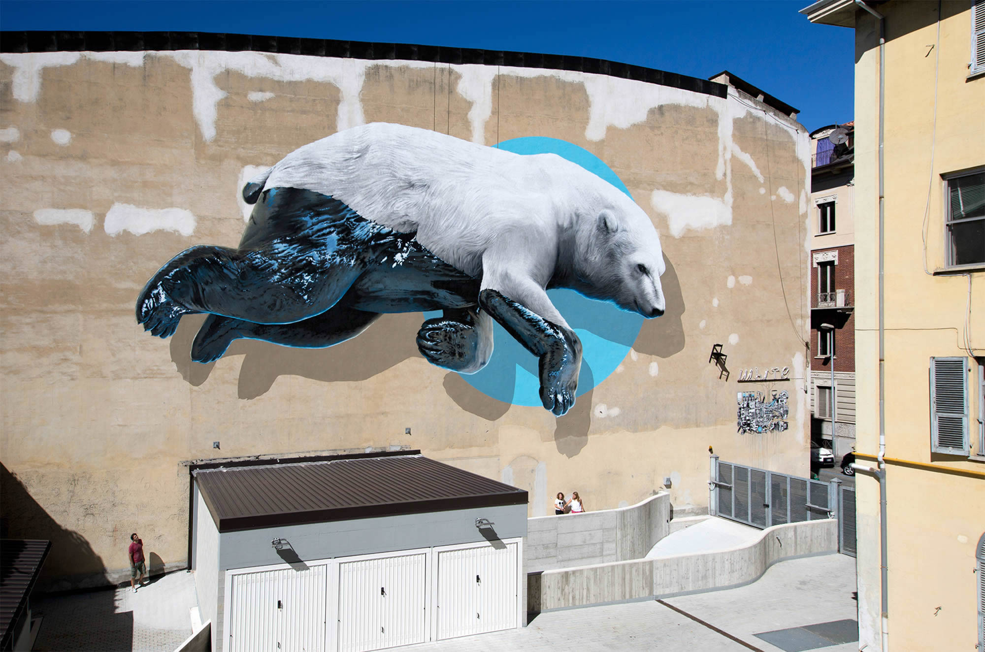 black machine, polar bear mural