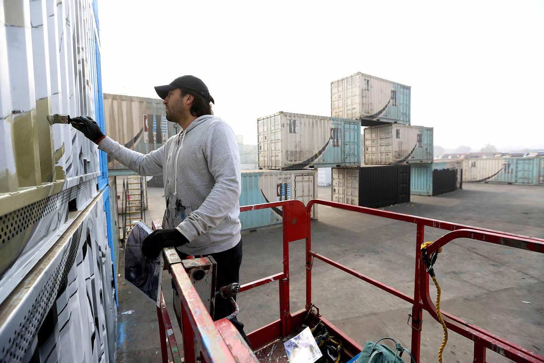 artist painting mural