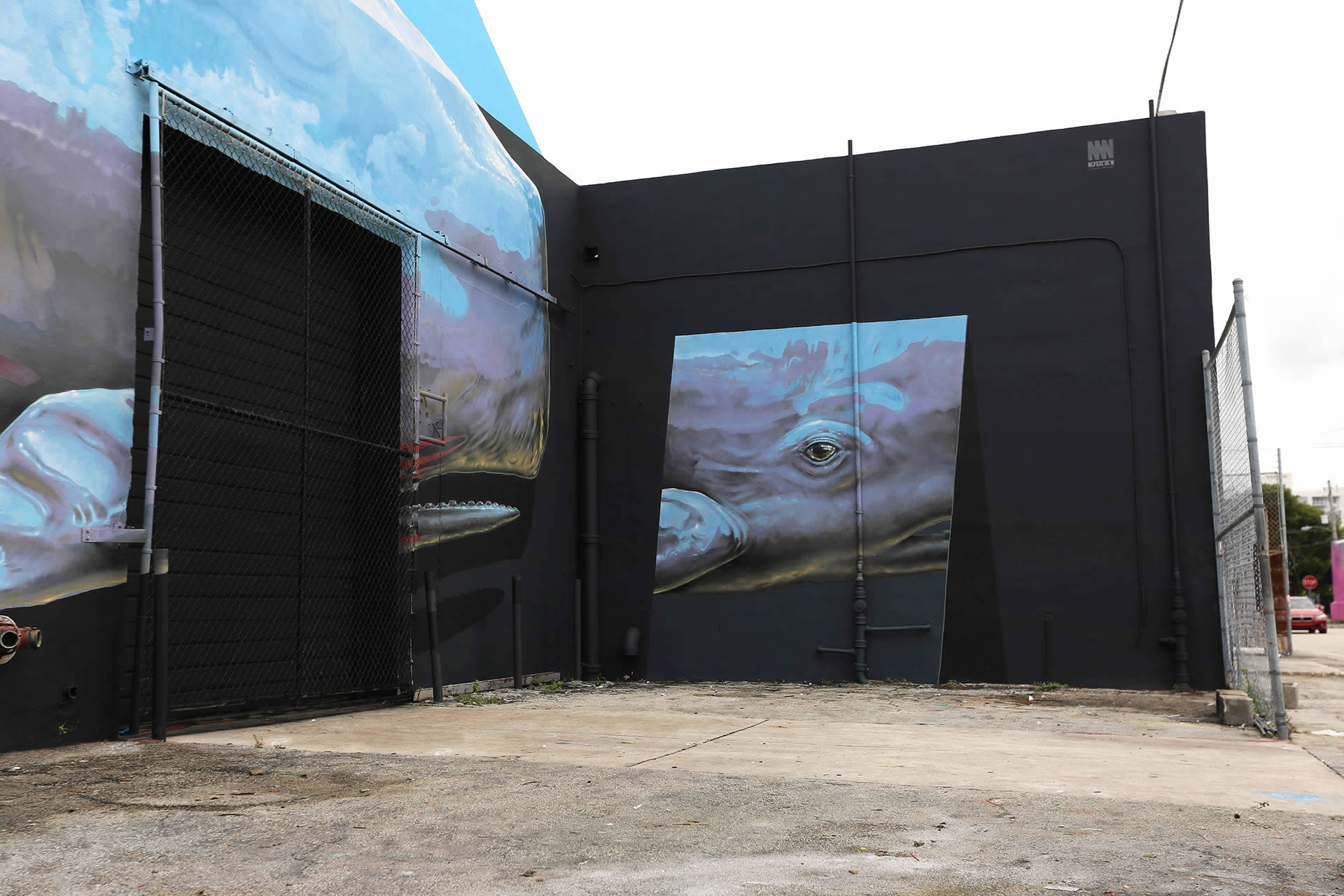 side view of whale mural